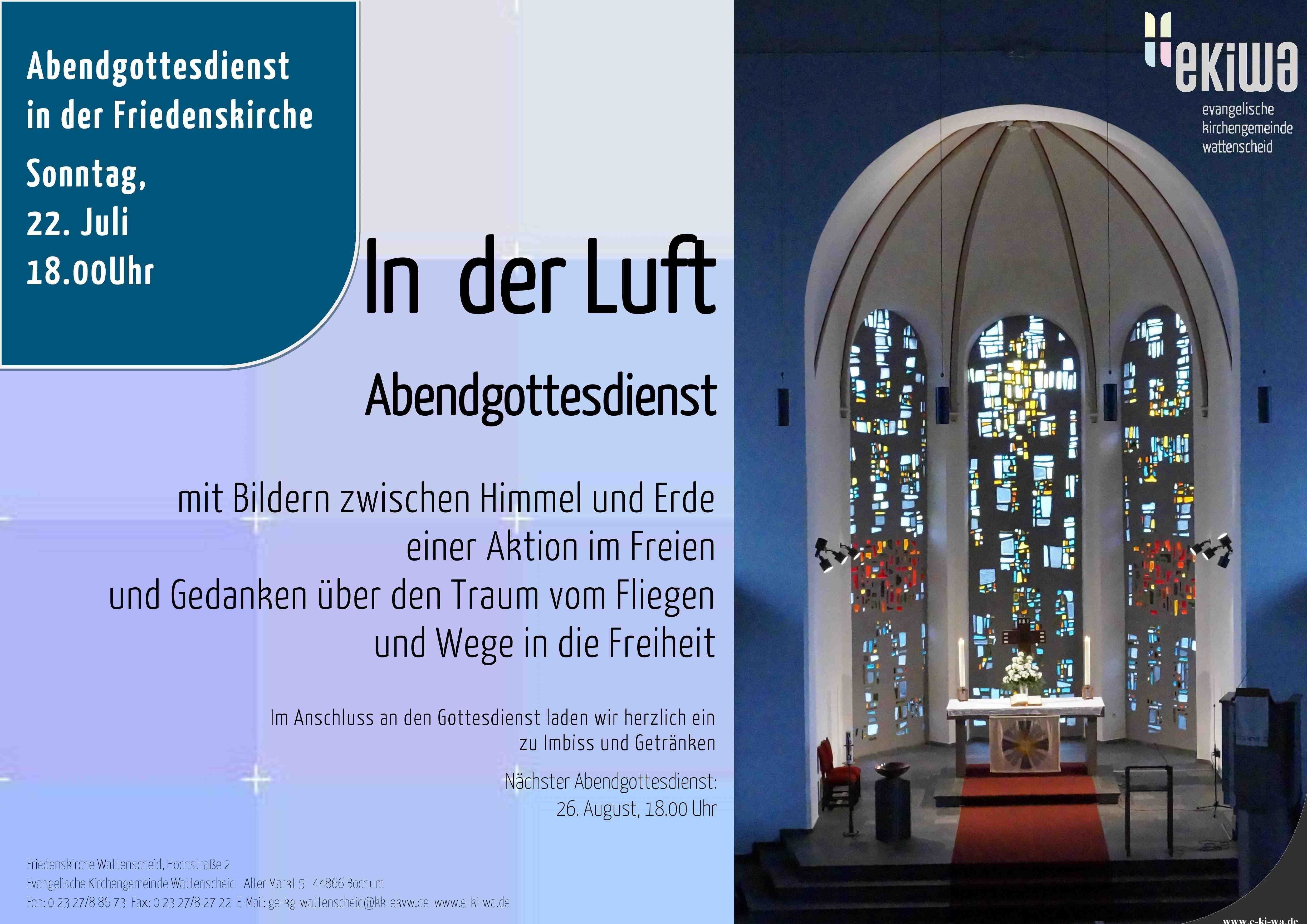 22.07.2018 Abendgottesdienst Friedenskirche : Evangelische ...